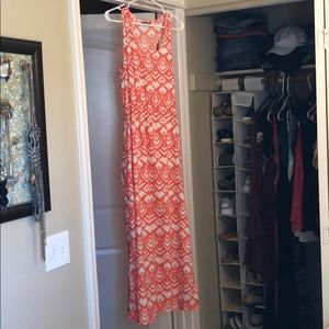 Long Coral Colored, Patterned Dress